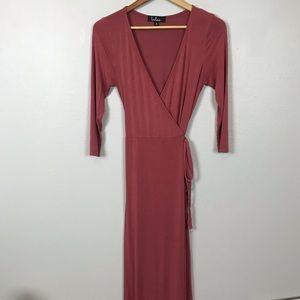 Lulus Salmon wrap maxi dress